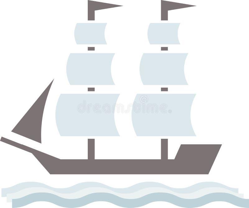 Het vectorembleem van het vervoerschip op witte achtergrond stock illustratie