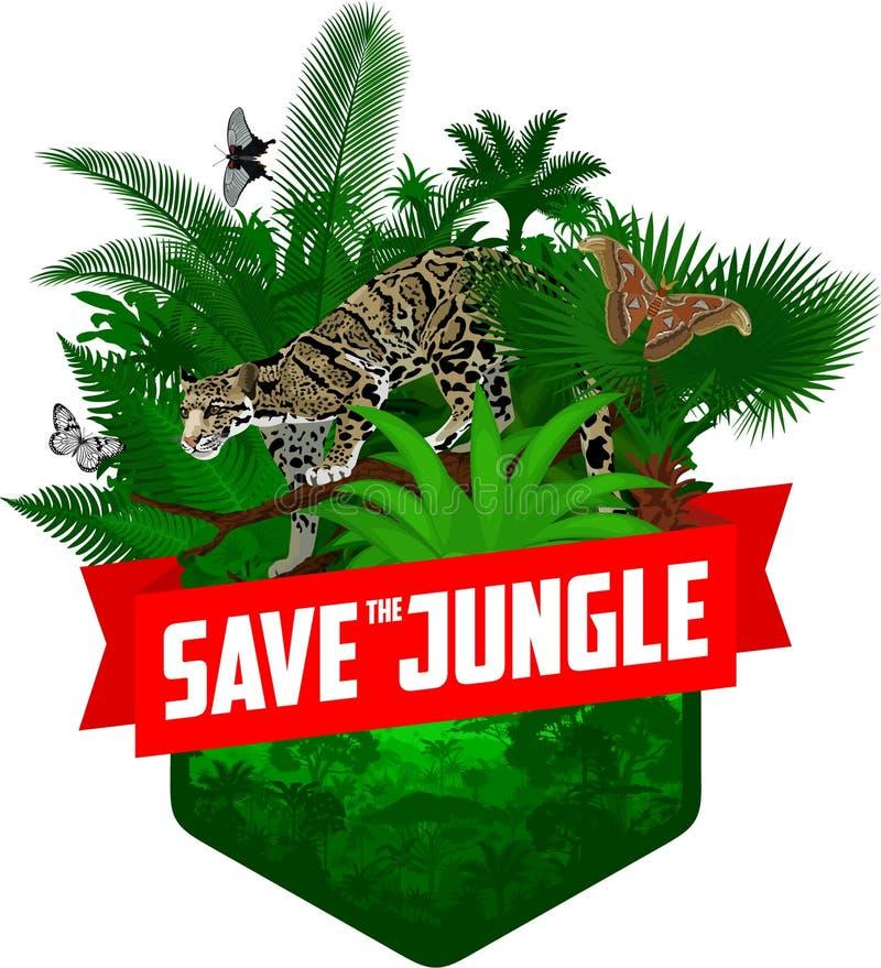 Het vectorembleem van het wildernisregenwoud met betrokken luipaard en vlinders stock illustratie