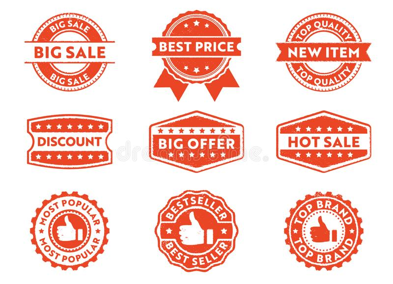 Het vectoretiket van het zegelkenteken voor de marketing van product, beste prijs, hete verkoop, hoogste merk, populairste, grote stock illustratie
