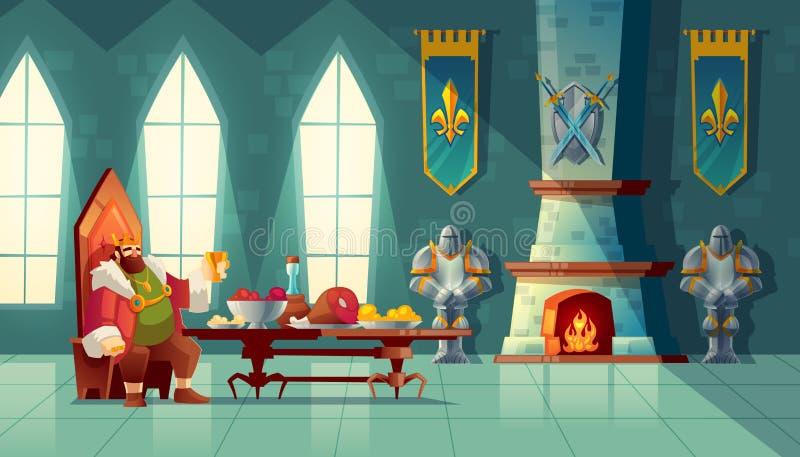 Het vectorfeestconcept, koning eet voedsel, maaltijd stock illustratie