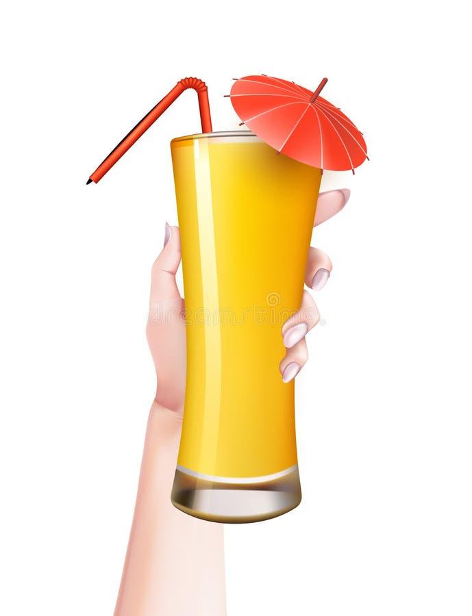 Het vectorglas van de de zomer realistische cocktail van de vrouwenhand royalty-vrije illustratie