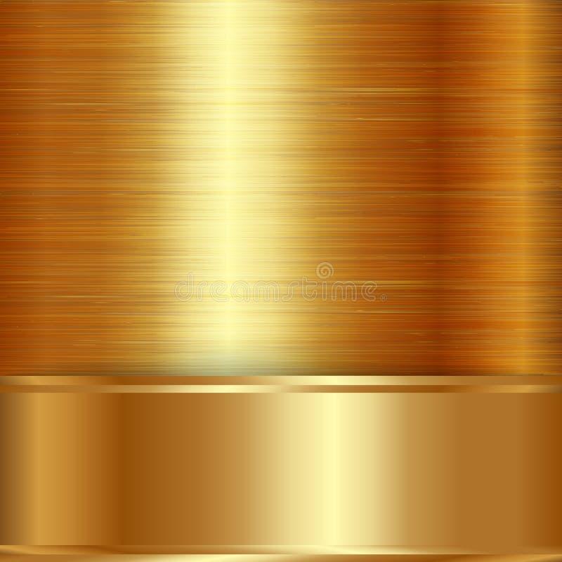Het vectorgoud borstelde metaalplaqueachtergrond royalty-vrije illustratie