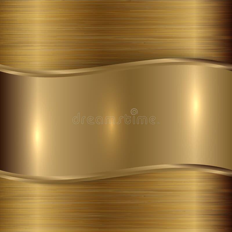 Het vectorgoud borstelde metaalplaqueachtergrond vector illustratie