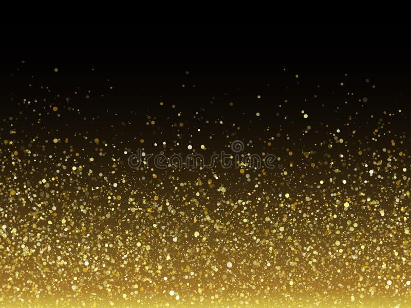 Het vectorgoud schittert deeltjes met het fonkelen stertextuur stock illustratie