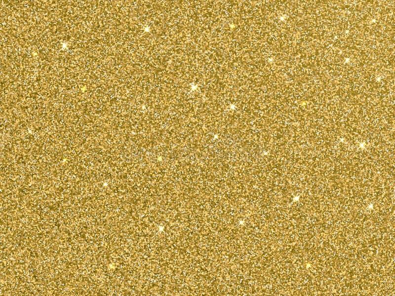 Het vectorgoud schittert gouden textuur als achtergrond stock illustratie