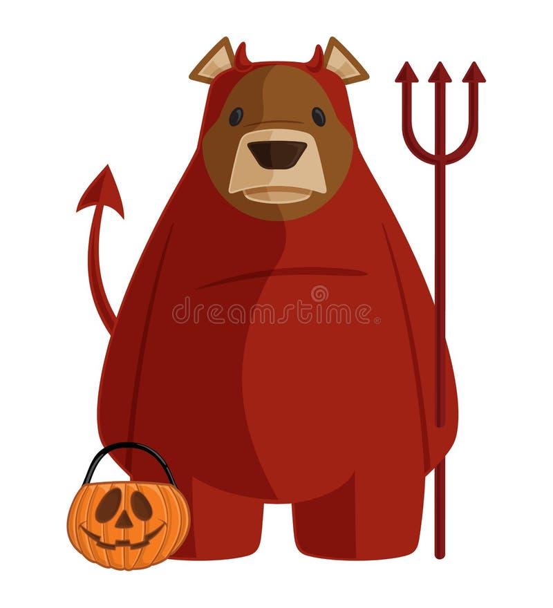 Het vectorhalloween-Beeldverhaal draagt Illustratie die in het Rode Kostuum van het Duivelsdemon een Hooivork en een Truc houden  stock illustratie