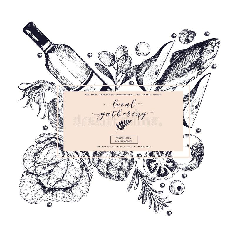 Het vectorhand getrokken banner lokale verzamelen zich Kadersamenstelling De wijn, zeevruchten, kaas, kip komt, groentenkool same vector illustratie