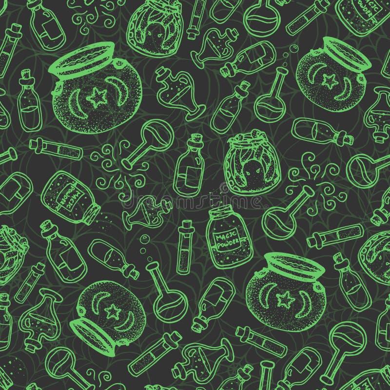 Het vectorhand getrokken groene naadloze patroon van alchimieflessen op de donkergrijze spinnewebachtergrond vector illustratie