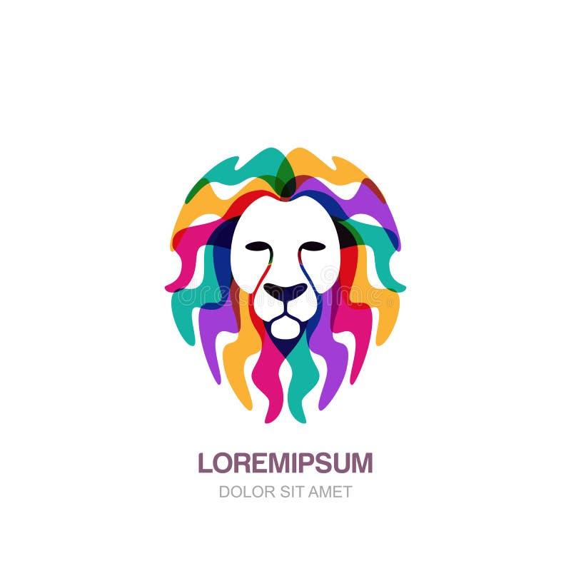 Het het vectorhand getrokken pictogram van het leeuw hoofdembleem of malplaatje van het embleemontwerp Creatieve geïsoleerde illu royalty-vrije illustratie