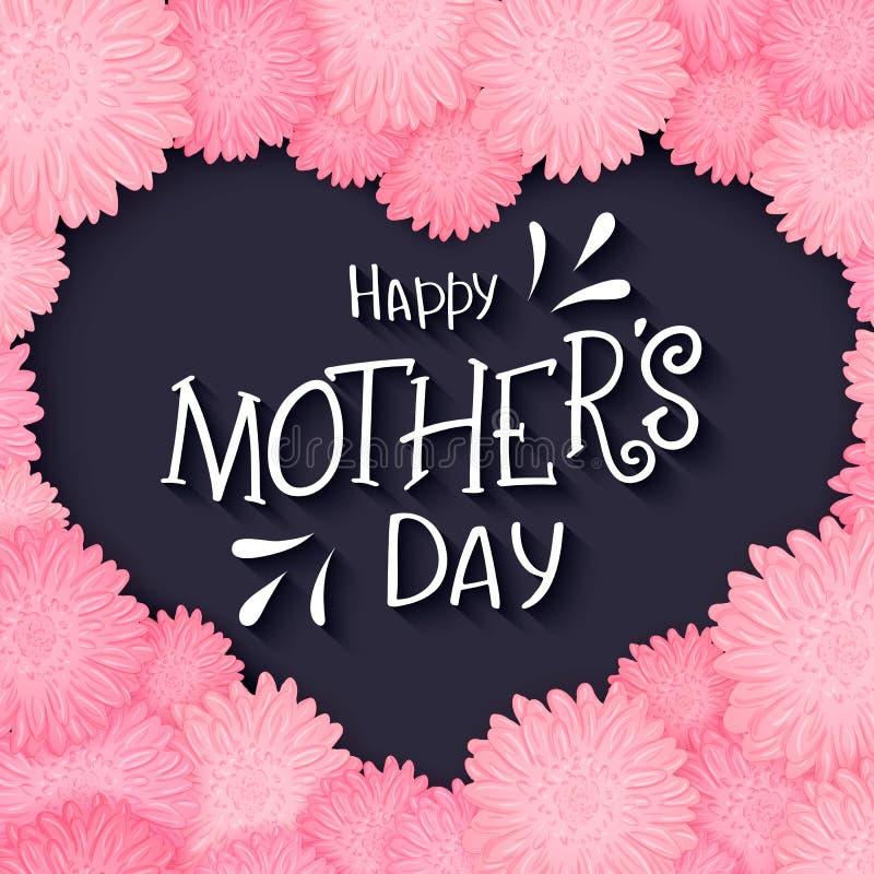 Het vectorhand getrokken van letters voorzien met bloemenhart en citaat - gelukkige moedersdag Kan als giftkaart, vlieger of affi stock illustratie