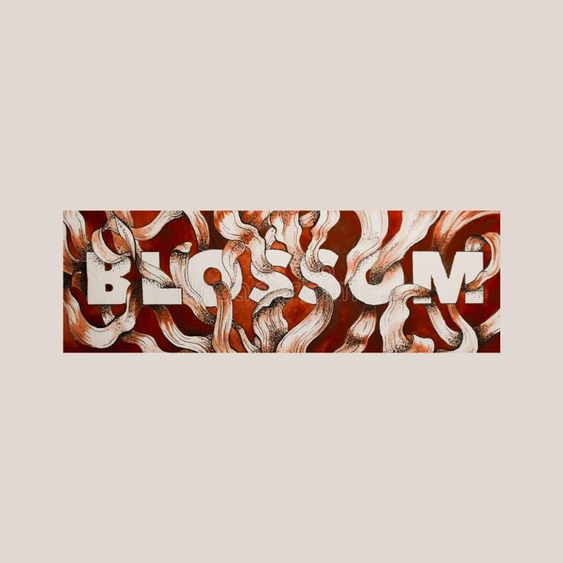 Het vectorhand getrokken van letters voorzien met waterverf bloemenillustratie vector illustratie