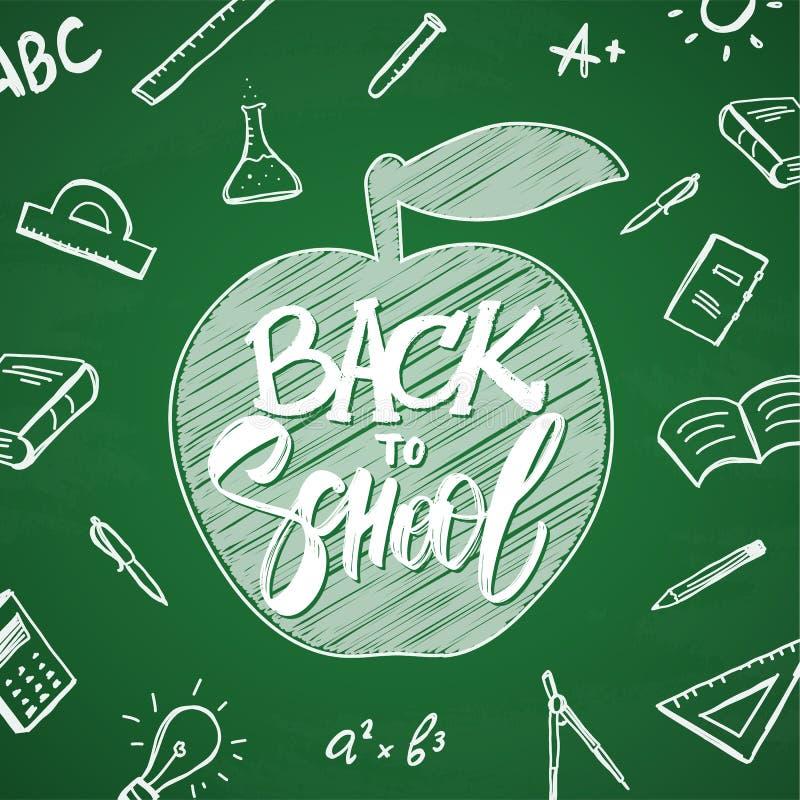 Het vectorhand getrokken van letters voorzien van terug naar School met appel en krabbelslevering op bordachtergrond stock illustratie