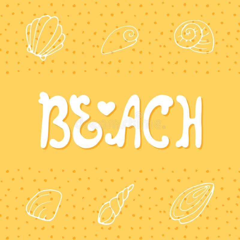 Het vectorhand van letters voorzien op het strand vector illustratie