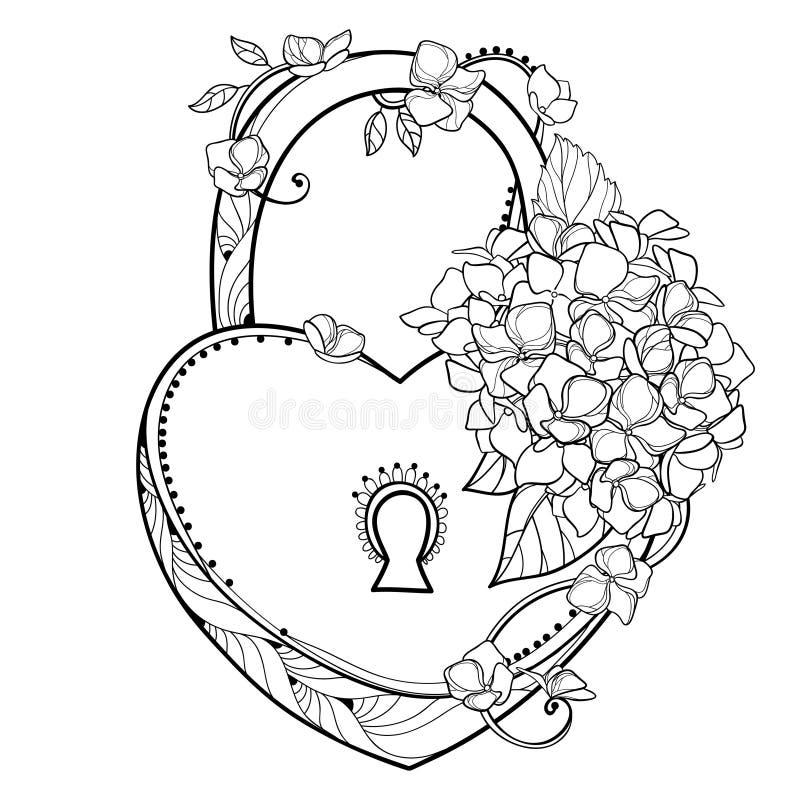 Het vectorhangslothart met boeket van overzichtshydrangea hortensia of Hortensia-de bloem bundelt en overladen die blad in zwarte vector illustratie