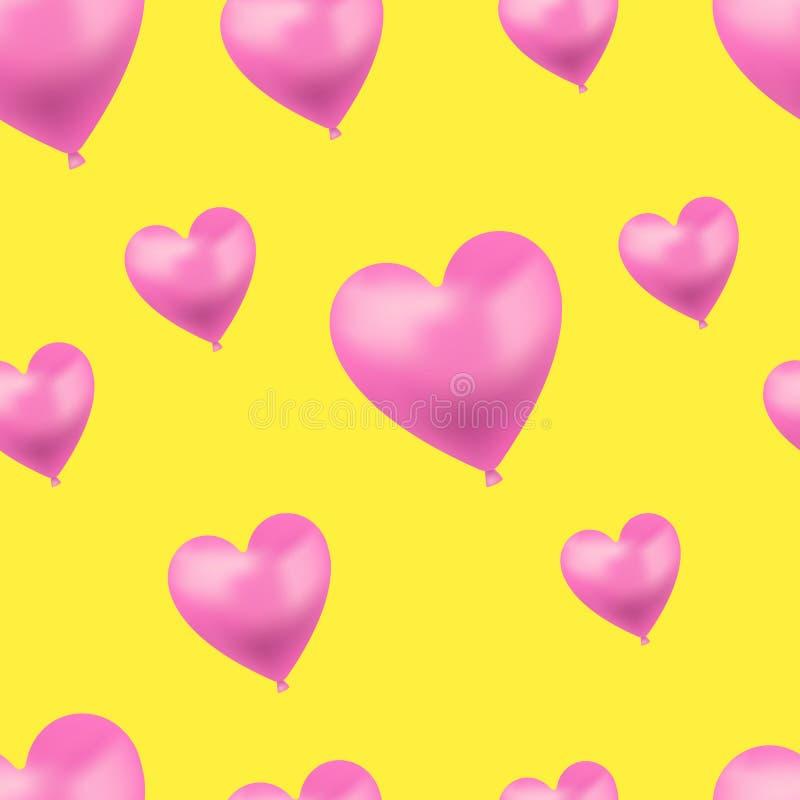Het vectorhart vormde Heldere Roze Ballons op Gele Achtergrond, Naadloos Patroonmalplaatje vector illustratie