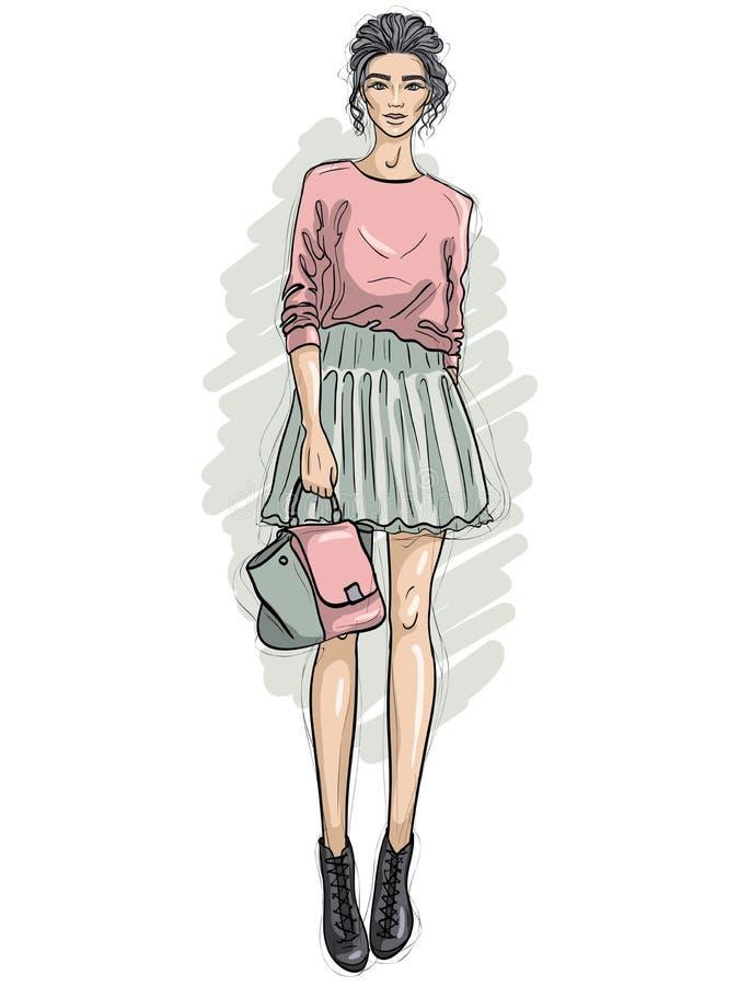 Het vectorhipstermeisje gekleed in sweatshirt, rok en enkellaarzen, houdt modieuze zak in haar hand, kleurenschets royalty-vrije illustratie