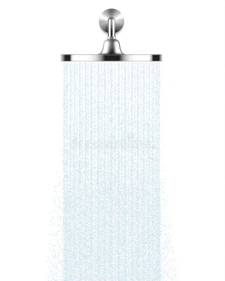 Het vectorhoofd van de Regendouche met water laat vallen stromen geïsoleerd over een witte achtergrond stock illustratie