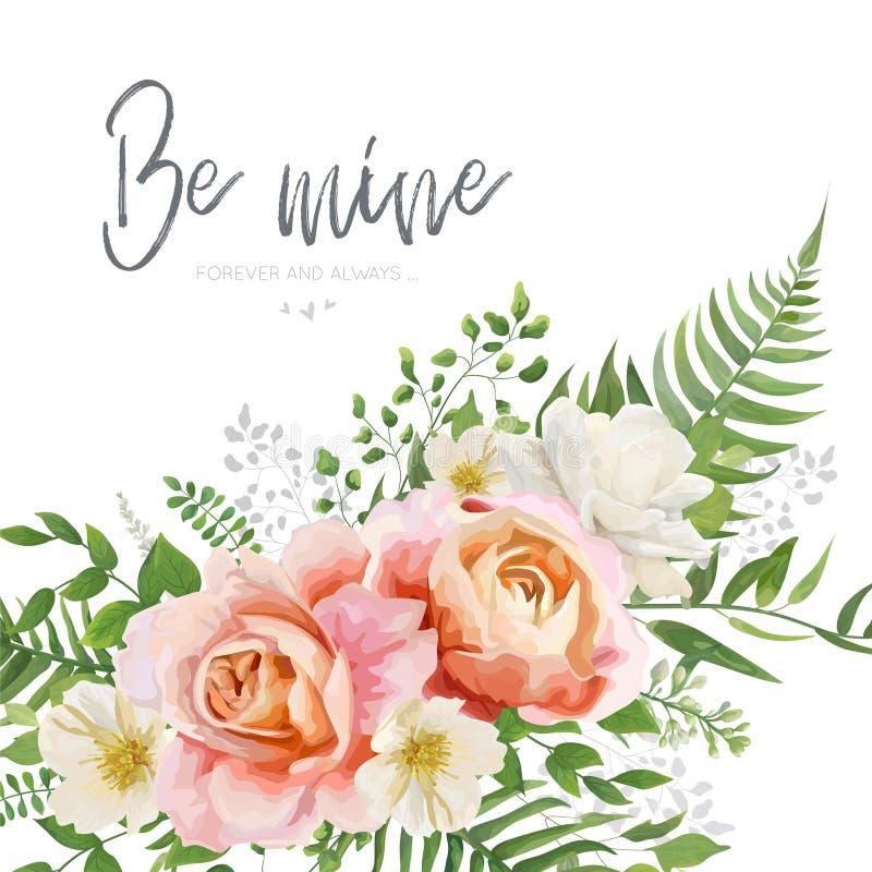 Het vectorhuwelijk nodigt, het ontwerp van de groetkaart met bloemenwatercol uit vector illustratie
