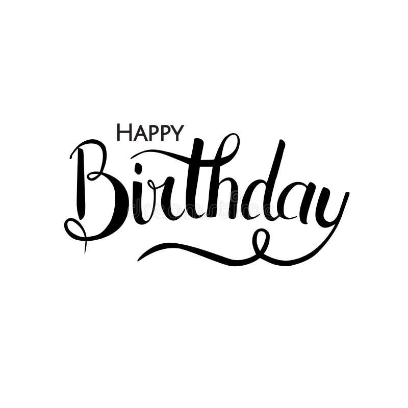 Het vectorillustratie Met de hand geschreven moderne borstel van letters voorzien van Gelukkige Verjaardag op witte achtergrond D vector illustratie