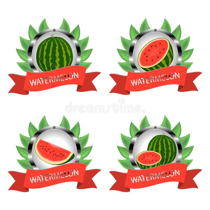 Het vectorillustratieembleem voor gehele rijpe rode fruitwatermeloen, groene stam, halve besnoeiing, sneed plakbes met rood vlees stock illustratie