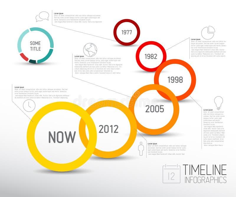 Het vectorinfographic-malplaatje van het chronologierapport met pictogrammen royalty-vrije illustratie