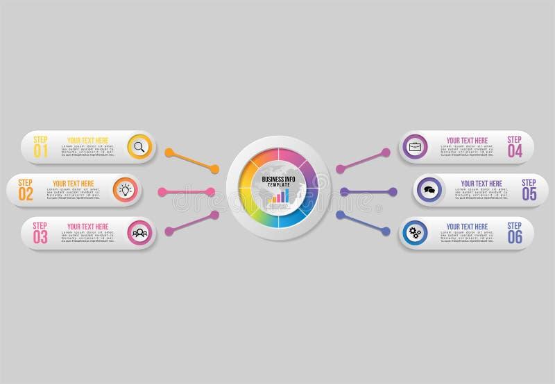 Het vectorinfographics-Ontwerp van het Elementenmalplaatje met optiesstappen De Chronologie van de bedrijfsgegevensvisualisatie m stock illustratie