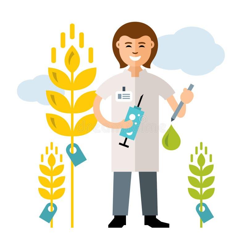 Het vectorinstallatiefokken, genetische biologie Landbouw en wetenschap De vlakke illustratie van het stijl kleurrijke Beeldverha stock illustratie