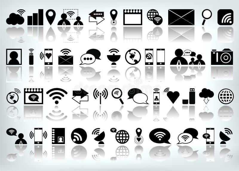 Het vectorinternet-vastgestelde pictogram van de Webcomputer stock illustratie