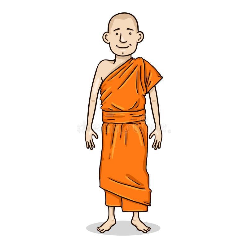 Het vectorkarakter van de Beeldverhaalkleur - Jonge Witte Mens in Kloosterrobes Boeddhistische Monnik Illustration royalty-vrije illustratie