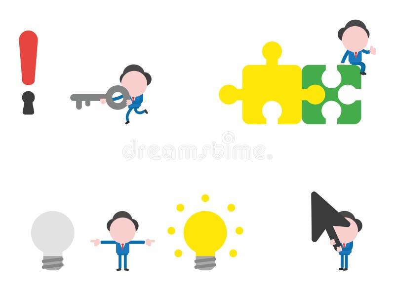 Het vectorkarakter van de illustratiezakenman - reeks royalty-vrije illustratie