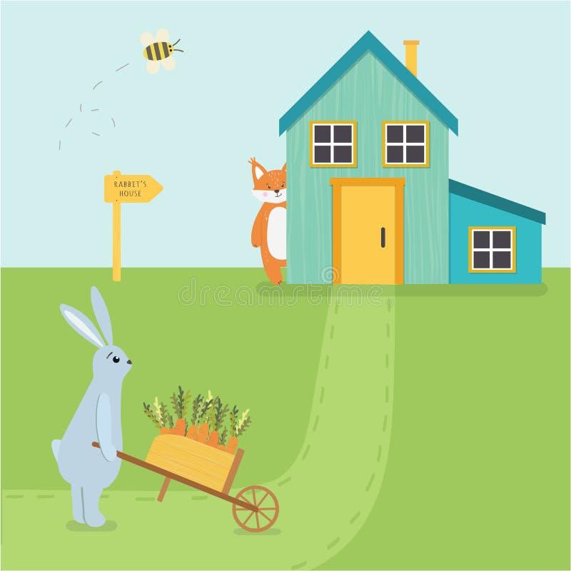 Het vectorkarakter van illustratie leuke hazen met een kruiwagen en een vos vector illustratie