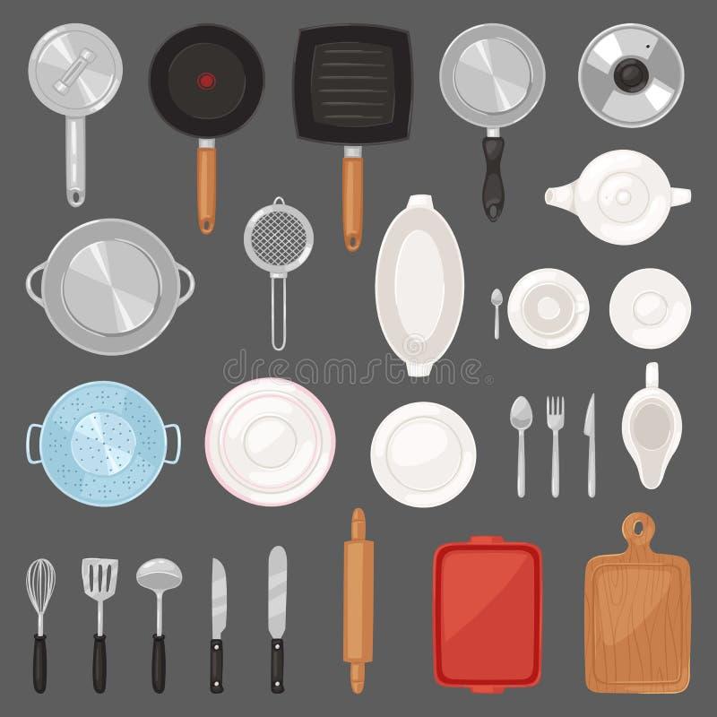 Het vectorkeukengerei van het keukenwerktuig of cookware voor het koken voedselreeks van panbestek en plaatillustratie van dishwa royalty-vrije illustratie