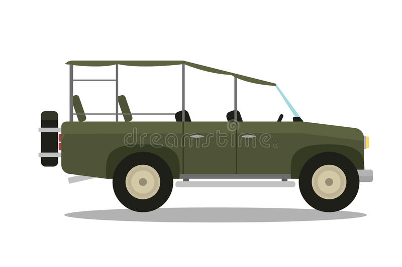 Het vectorkompas van de safarireis, geweer, verrekijkers en jeepauto royalty-vrije illustratie