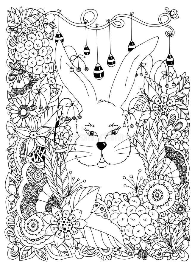 Het vectorkonijn van illustratiezen tangle in de bloemen Krabbelart. Het kleuren boek antispanning voor volwassenen Zwart Wit royalty-vrije illustratie