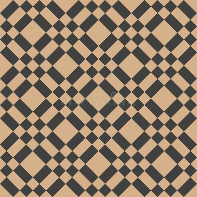 Het vectorkruis van de van het achtergrond damast naadloze retro patroon meetkunde vierkante controle Het elegante ontwerp van de stock illustratie