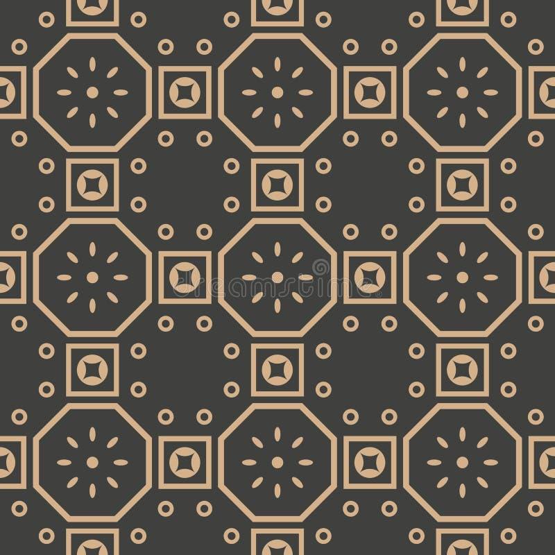 Het vectorkruis van de van het achtergrond damast naadloze retro patroon oosterse veelhoek vierkante meetkunde om kaderketen bloe stock illustratie