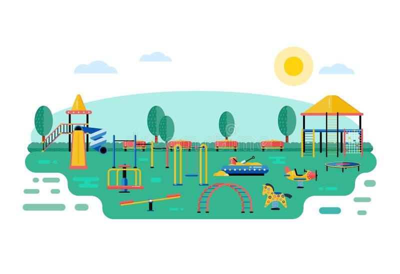 Het vectorlandschap van de jonge geitjesspeelplaats in vlak ontwerp De kinderen spelen a stock illustratie