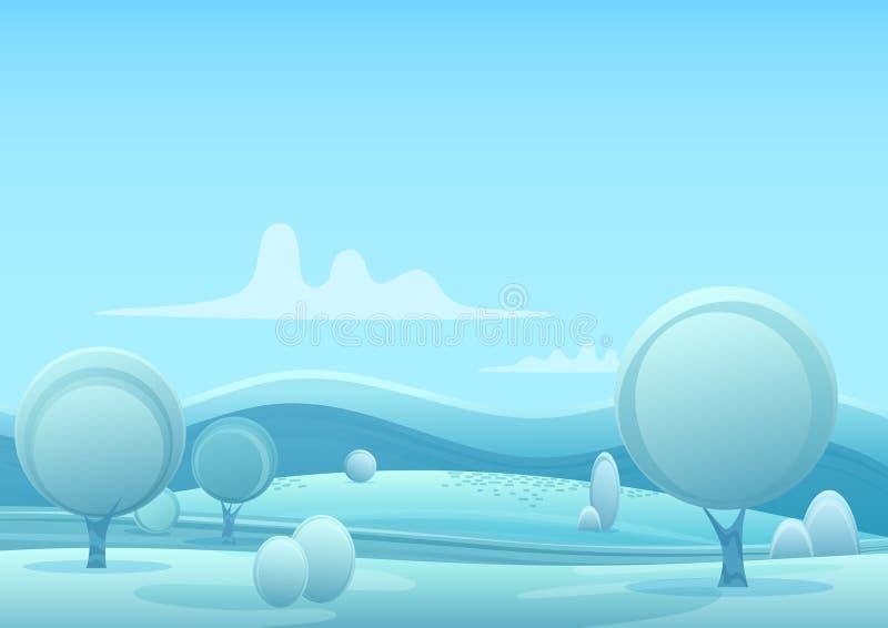 Het vectorlandschap van de het spelstijl van de Beeldverhaal sneeuwwinter met bomen en van sneeuwbergen heuvels vector illustratie