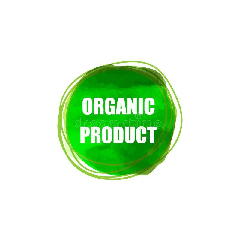 Het vectormalplaatje van het Biologisch product Verpakkende die Etiket, op Witte Achtergrond Groene Verfcirkel wordt geïsoleerd,  royalty-vrije illustratie