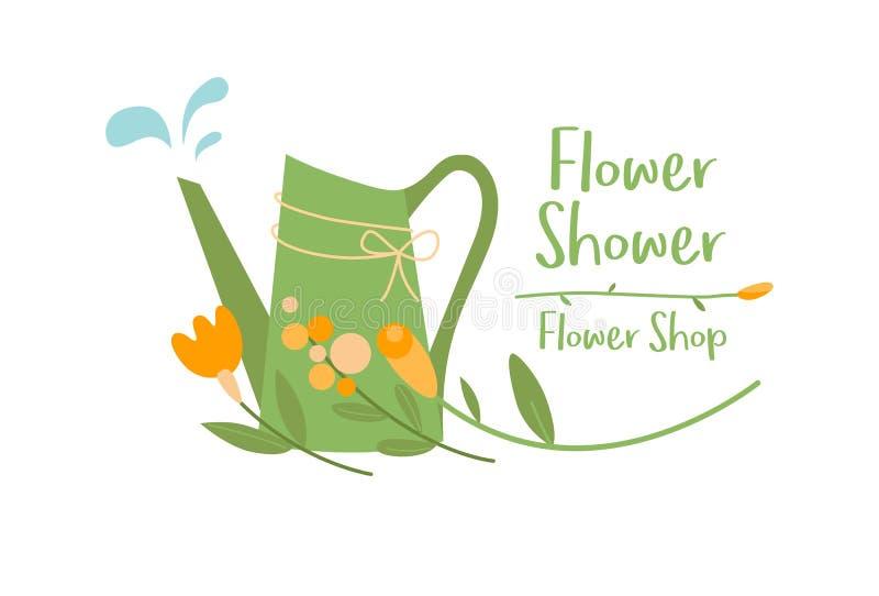 Het vectormalplaatje van de bloemwinkel logotype, embleemontwerp royalty-vrije illustratie