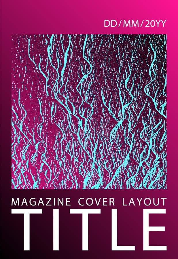 Het vectormalplaatje van de catalogusdekking Plastic roze zwarte blauwe synthwavetextuur Marketing ontwerp van de catalogus het i royalty-vrije illustratie