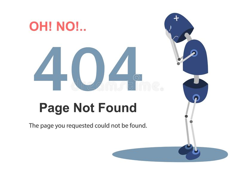 het vectormalplaatje van de 404 foutenpagina voor website Illustratie van een beeldverhaalrobot Beeldverhaaldruk royalty-vrije illustratie