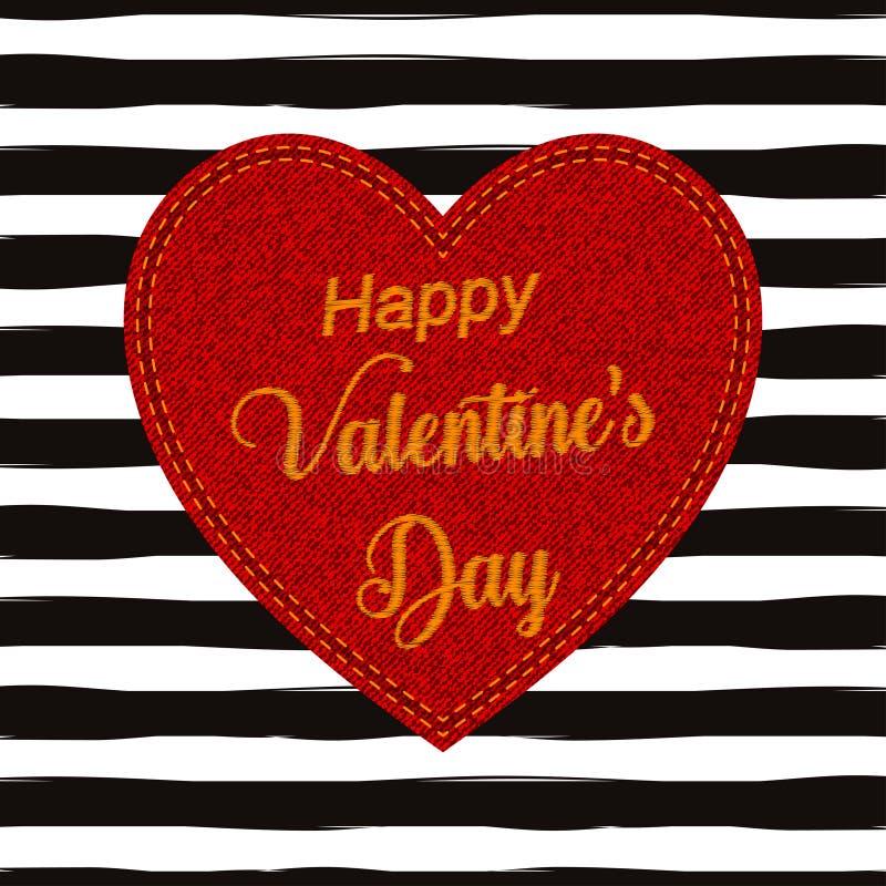 Het vectormalplaatje van de de groetkaart van de Valentijnskaartendag met steek van letters voorziende teksten ondertekent, denim stock illustratie