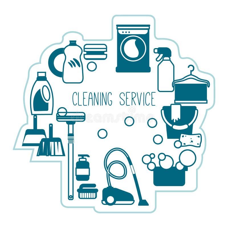 Het vectormalplaatje van de huishoudendiensten met leveringspictogrammen stock illustratie
