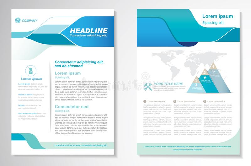 Het vectormalplaatje van de het ontwerplay-out van de Brochurevlieger, grootte A4, Voorpagina en achterpagina, infographics Gemak royalty-vrije stock foto's