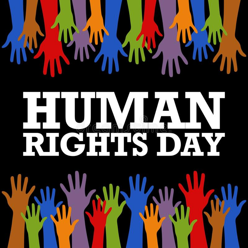 Het Vectormalplaatje van de rechten van de mensdag vector illustratie