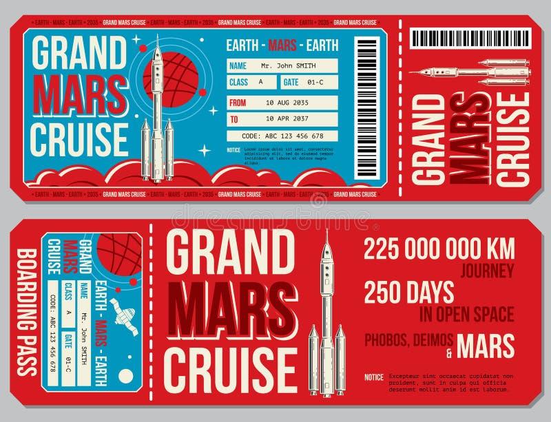 Het vectormalplaatje van de ruimtevaart instapkaart Reis aan de kaartjes van Mars vector illustratie