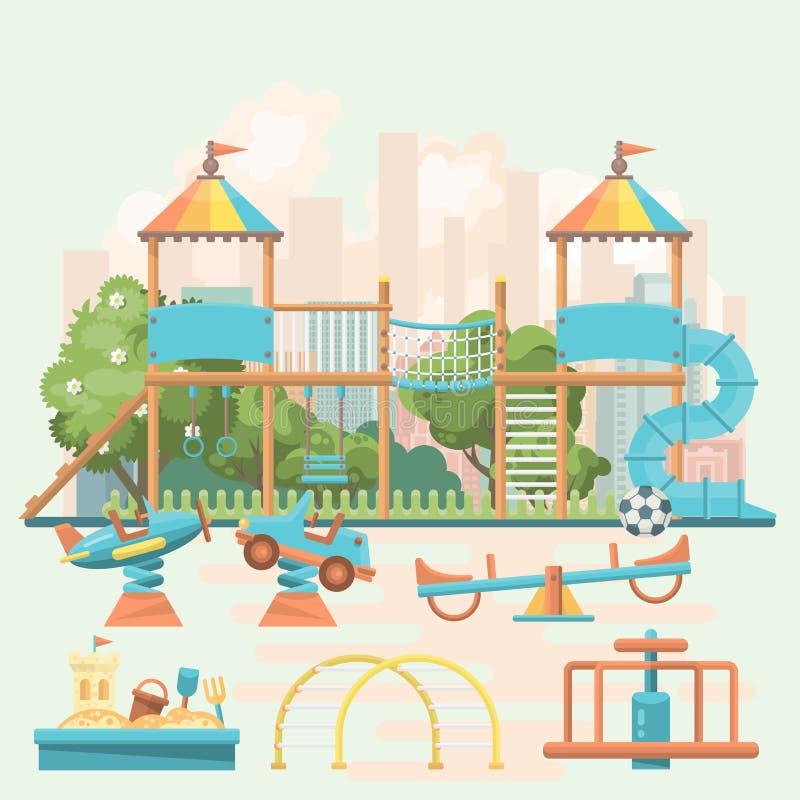 Het vectormalplaatje van de spelgrond in vlak ontwerp Peuterwerf met speelgoed royalty-vrije illustratie