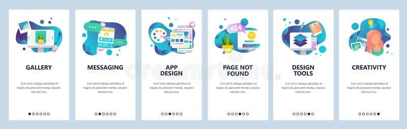 Het vectormalplaatje van de website onboarding schermen Ontwerp creatieve hulpmiddelen en software Mobiel online Overseinen app e vector illustratie