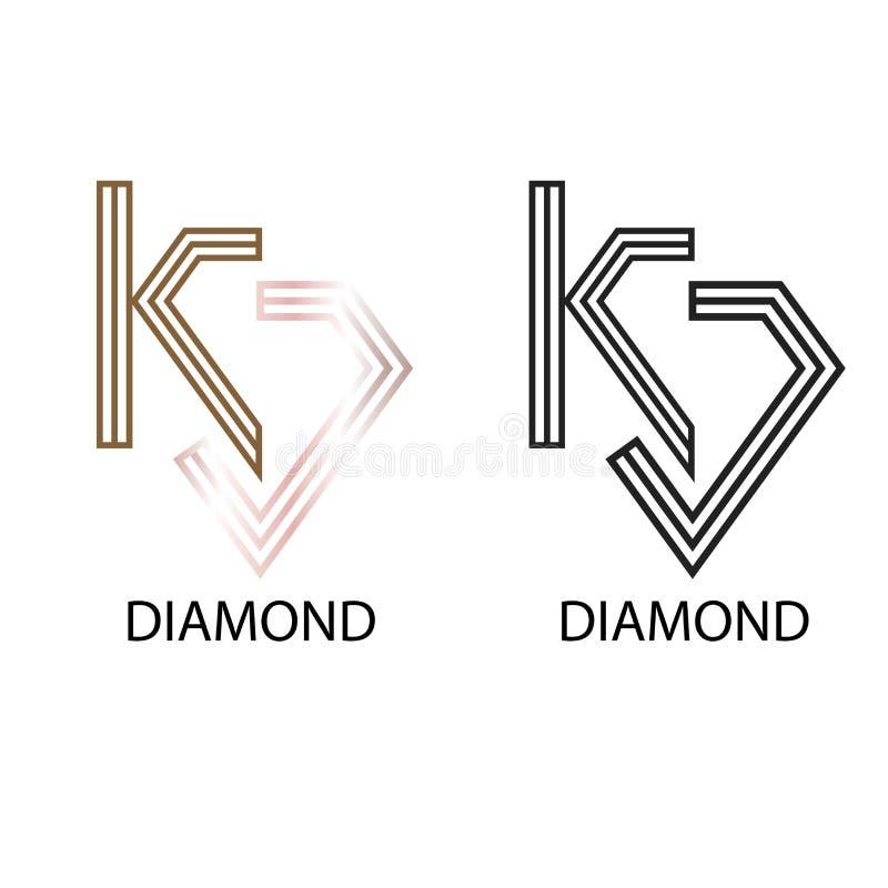 Het vectormalplaatje van het diamantk embleem - luxuly stock illustratie